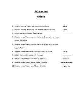 Greece Map Scavenger Hunt