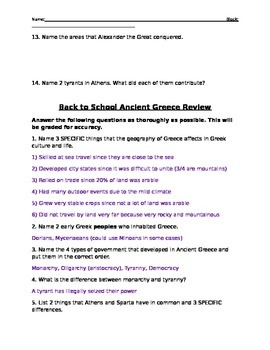 Greece Review (with key)