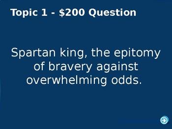 """Greece Unit Jeopardy """"Persian War"""""""