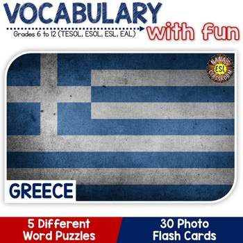 Greece - Country Symbols: 5 Different Word puzzles and 30 Photo Flash Cards