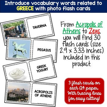 Greece 5 Word Puzzles and 30 Photo Flash Cards BUNDLE