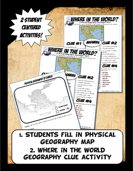 Greece Where in the World Scavanger Hunt & Map Physical Geography