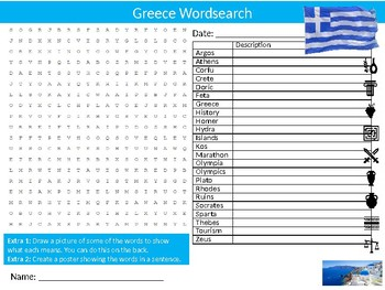 Greece Wordsearch & Anagrams Puzzle Sheet Keywords Country Geography