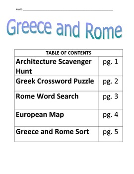 Greece and Rome Review Activity Pack