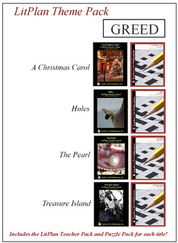 Greed Novel Unit Theme Pack Bundle
