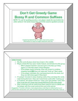 Greedy Game: Bossy R + Common Suffixes-Orton Gillingham Phonics/Reading/Spelling