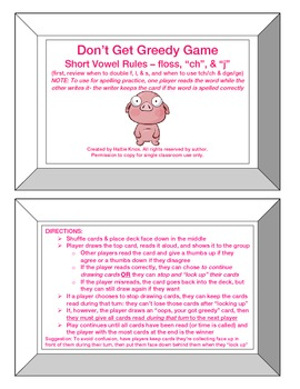Greedy Game: Floss Rule, -tch/ch, -dge/ge -Orton Gillingham Phonics/Read/Spell
