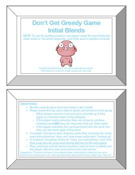 Greedy Game: Initial Blends (CCVC)-Orton Gillingham Phonics/Reading/Spelling