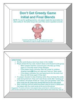 Greedy Game: Initial & Final Blends-Orton Gillingham Phoni