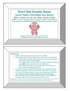 Greedy Game: Vowel Teams with 1 Sound- Orton Gillingham Phonics/Reading/Spelling