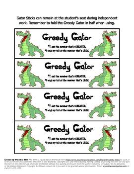 Greedy Gator Kindergarten Math Center: Common Core State Standard