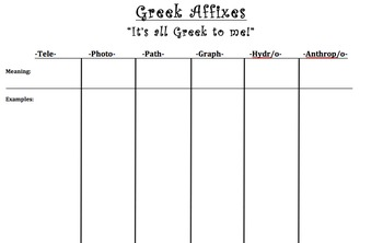 Greek Affixes mini lesson with game and exit ticket