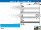 Greek Architecture Wordsearch Puzzle Sheet Starter Activity Keywords Architects