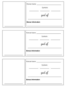 Greek God & Goddess Trading Card Activity (Template)