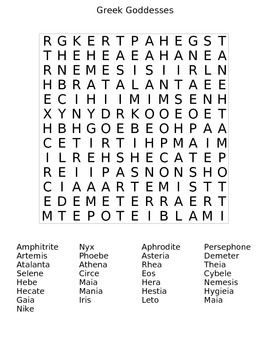Greek Goddesses Word Search