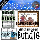 Greek Gods Bundle (Bingo, Scavenger Hunt, Editable Quiz, Printables)