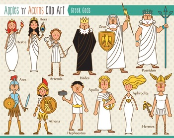 greek gods clip art color and outlines by apples n acorns tpt rh teacherspayteachers com greek gods clipart black and white greek mythology gods clipart