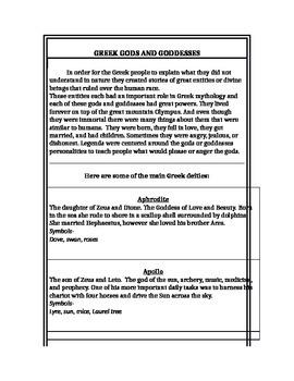 Greek Gods & Goddesses Information Sheet