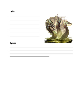 Greek Gods, Goddesses, and Monsters Note