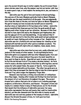 Greek Gods Mythology Close Reading Pack - Common Core
