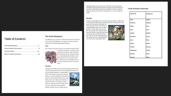 Greek Gods Mythology Study Pack