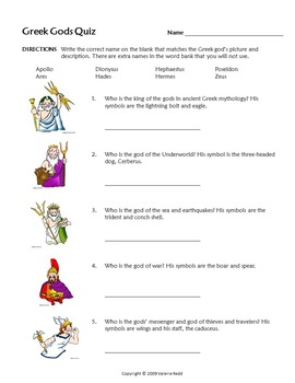 Greek Gods PowerPoint, Bulletin Board Handout & Quiz