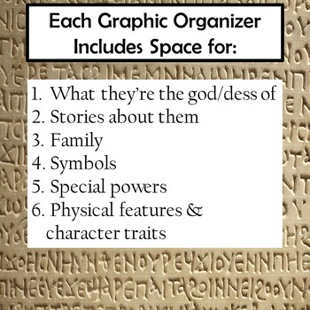 Greek Gods and Goddesses Biography Research Graphic Organizers