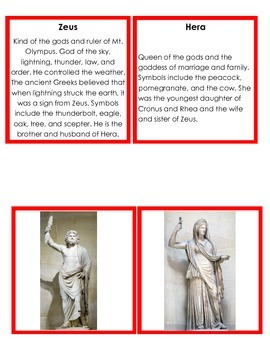 Greek Gods and Goddesses Images and Info Cards