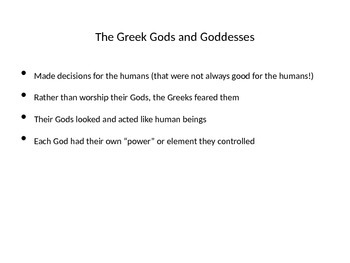 Greek Gods and Goddesses Intro Activity
