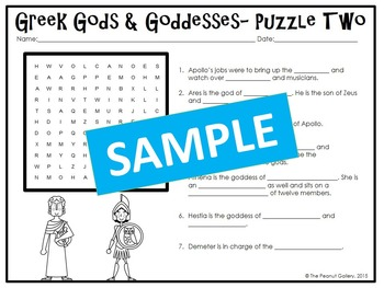 Greek Gods and Goddesses Puzzles