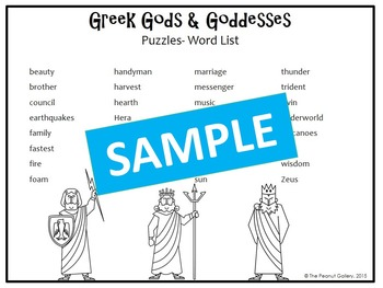 Greek Gods and Goddesses Puzzles