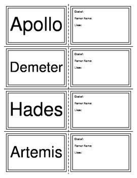 Greek Gods of Mt. Olympus Flashcards **To Accompany Quiz and PowerPoint
