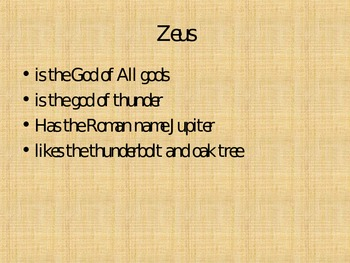 Greek Gods of Mt. Olympus PowerPoint **To Accompany Worksheet & Quiz
