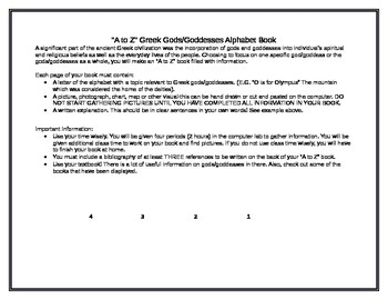 Greek Gods/Goddesses A to Z book outline and rubric