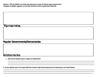 Greek Government Graphic Organizer