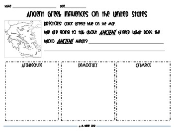 Greek Influences Graphic Organizer Set
