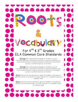 Greek Latin Affixes Roots Vocab Assessments & Study Guides for 4th & 5th Grades