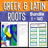 Greek & Latin Roots 40 Week Study : Lesson Plans, Games+ BUNDLE Grades 4 5 6