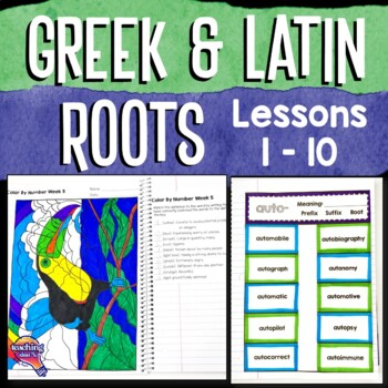 Greek & Latin Prefix Suffix Root Interactive Notebook Study 10 Week Set Qtr 1