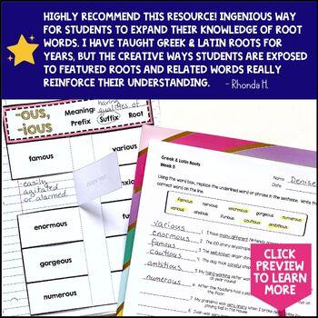 Greek & Latin Prefix Suffix Root Interactive Notebook Study 10 Week Set Qtr 4