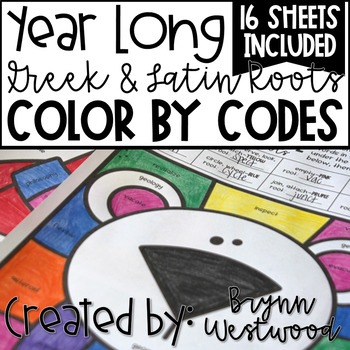 Greek & Latin Root Color by Codes All Seasons BUNDLE (Answer Keys Included)