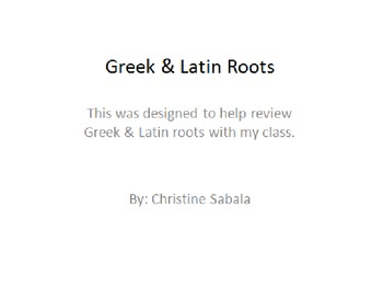Greek & Latin Root Review