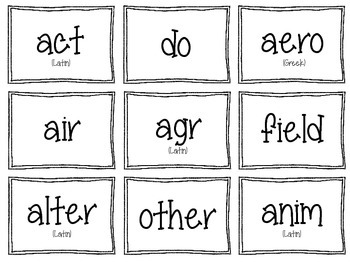 Greek & Latin Root Word Flash Cards