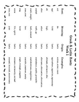Greek & Latin Root Word Unit Weeks 1-5