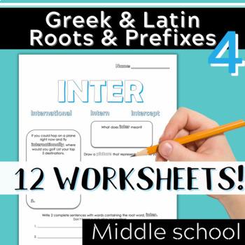 Part 4: Greek & Latin Root Words and Prefixes-Worksheets & Quiz