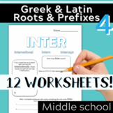 Part 4: Greek & Latin Root Words and Prefixes-Worksheets & Quiz