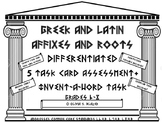 Greek & Latin Roots/Affixes Differentiated 5 Task Cds/Inve