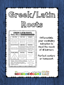 Greek/Latin Roots Choice Board