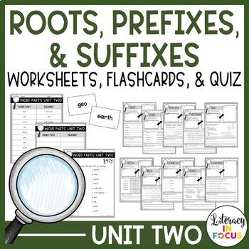 Root Words, Prefixes, & Suffixes Unit 2 Worksheets