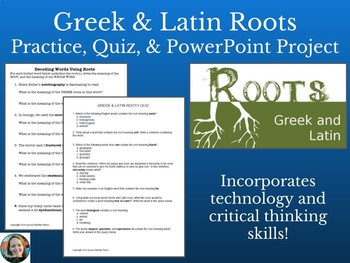 Greek & Latin Roots Practice, Quiz, and PowerPoint Assignment